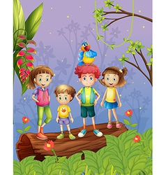 Children with one colorful parrot in the forest vector image