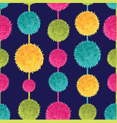 Dark colorful decorative hanging pompoms vector