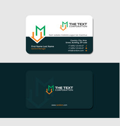 Dark green business card with letter m and roof vector