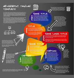 Dark infographic timeline report template made vector