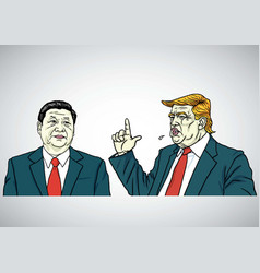 Donald trump and xi jinping cartoon portrait vector