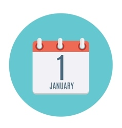 First january dates flat icon vector