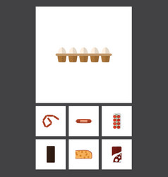 Flat icon eating set of confection cheddar slice vector