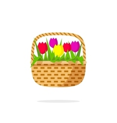 Flowers basket icon beauty bouquet with vector image vector image