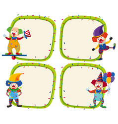 four border templates with happy clowns vector image