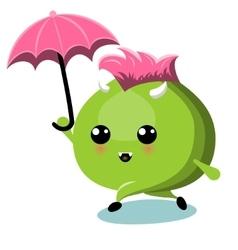 Green Monster With Umbrella Under Rain vector image