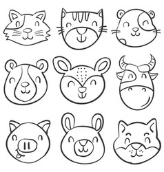 hand draw animal head style doodles vector image vector image