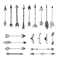 hand drawn arrows collection ethnic ink set vector image vector image