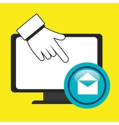 laptop enveloped hand vector image