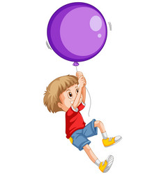 little boy and purple balloon vector image