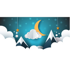night landscape - cartoon cloud vector image vector image