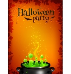 Orange Halloween poster template with green potion vector image vector image