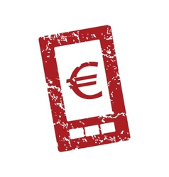 Red grunge euro phone logo vector