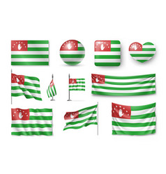 set abkhazia flags banners banners symbols vector image vector image