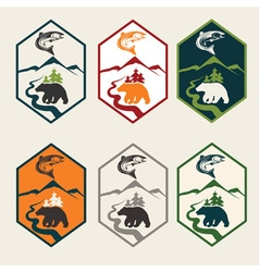 Set of fishing camp labels vector
