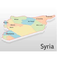 syria map 3d with main cities and vector image