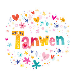 Tanwen girls name decorative lettering type design vector