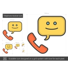 Telephone receiver line icon vector
