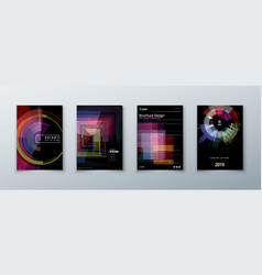 Trendy glitch covers design with geometric pattern vector