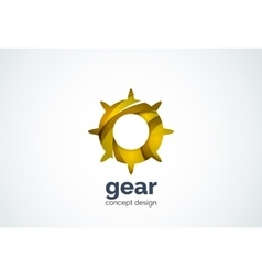 Gear logo template hi-tech digital technology vector