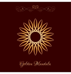 Gold Color Sun Mandala over dark brown vector image
