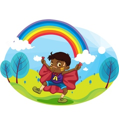 Boy and rainbow vector