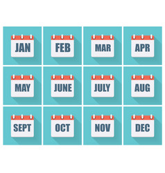 Month dates flat icon set with long shadow vector