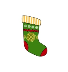 Christmas colorful sock isolated on white vector