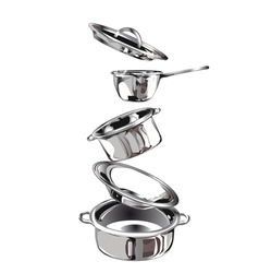 Group of stainless steel kitchenware vector