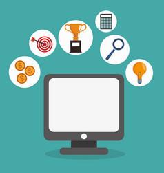 Digital marketing online remote business network vector