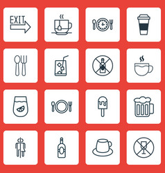 Set of 16 meal icons includes cutlery lolly vector