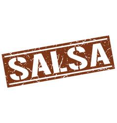 Salsa square grunge stamp vector