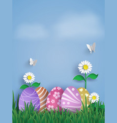 Easter day with egg in grasspaper art and craft vector