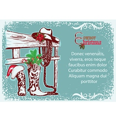 Cowboy Christmas poster for text vector image
