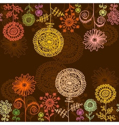Horisontal seamless floral background vector image
