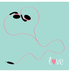 Pink earphones cord in shape of heart flat design vector