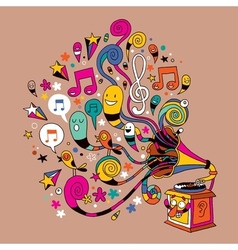 Fun gramophone cartoon vector