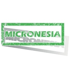 Green outlined micronesia stamp vector