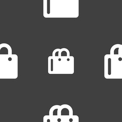 Shopping bag icon sign seamless pattern on a gray vector
