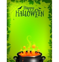 Green halloween poster template with orange potion vector