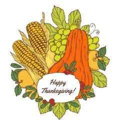 Thanksgiving day greeting card with berries vector