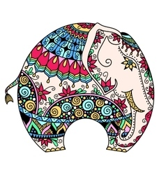 Color decorated indian elephant vector