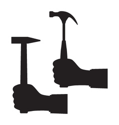 Black silhouette of a hand with a hammer vector