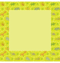 Frame with seamless pattern of funny animals vector image
