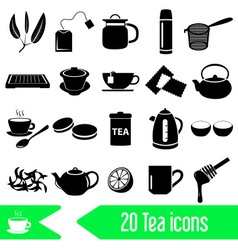 Tea theme black simple icons set eps10 vector