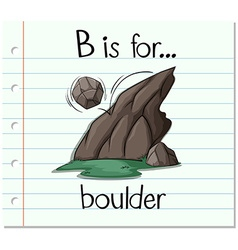 Flashcard letter b is for boulder vector