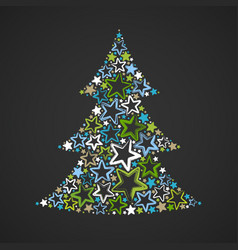 Abstract christmas tree made of multicolored stars vector