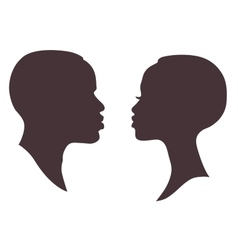 African woman and man face silhouette vector
