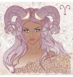 Aries as a portrait of beautiful african girl vector image vector image