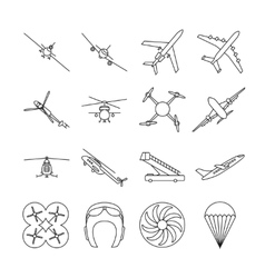 Aviation thin line icons set vector